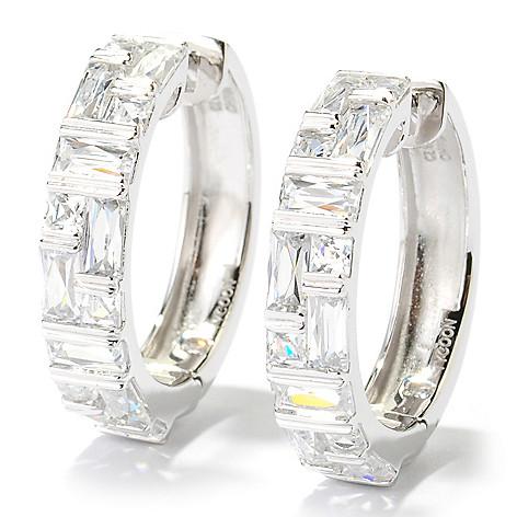 131-136 - TYCOON 1'' 4.12 DEW Tension Set Simulated Diamond Hoop Earrings
