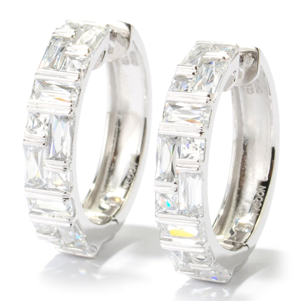 "131-136 - TYCOON 1"" 4.12 DEW Tension Set Simulated Diamond Hoop Earrings"