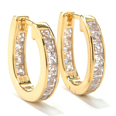 131-138 - TYCOON 2.24 DEW Channel Set Simulated Diamond Inside-Out Huggie Hoop Earrings