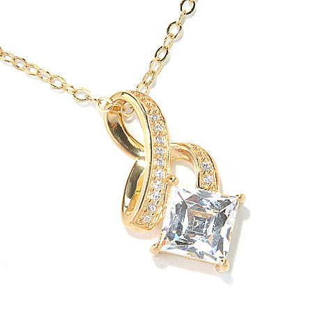 131-139 - TYCOON 2.08 DEW Square Cut Simulated Diamond Swirl Pendant