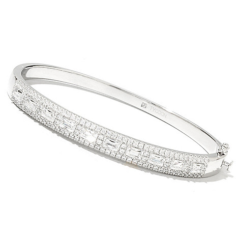 131-143 - TYCOON Platinum Embraced™ 4.24 DEW Simulated Diamond Hinged Bangle Bracelet