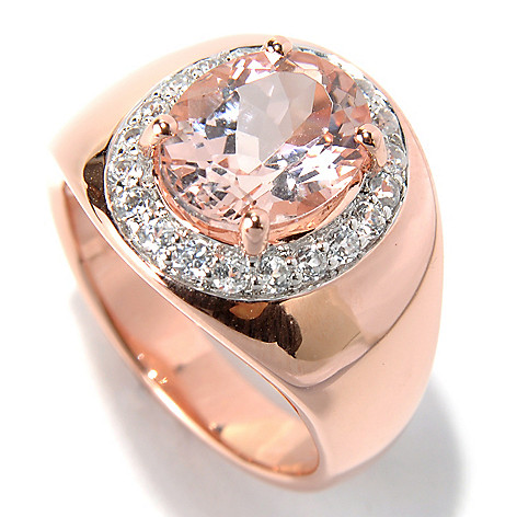 131-156 - NYC II™ 5.04ctw Morganite & White Zircon Halo Ring