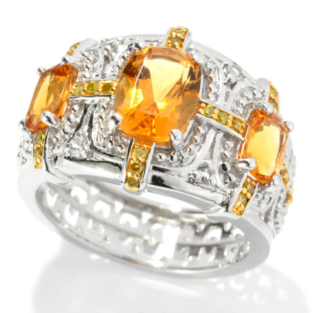 131-160 - NYC II 2.02ctw Honey Citrine, Yellow Diamond & White Topaz Ring