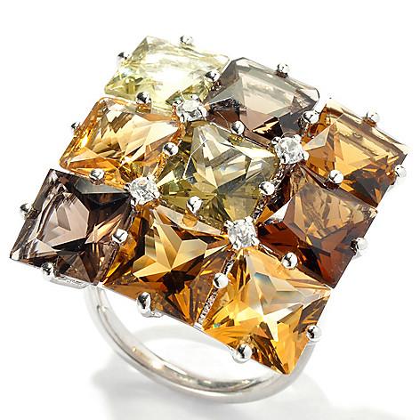 131-167 - NYC II 11.94ctw Multi Gemstone ''Radiant Neutrals'' Square Top Ring