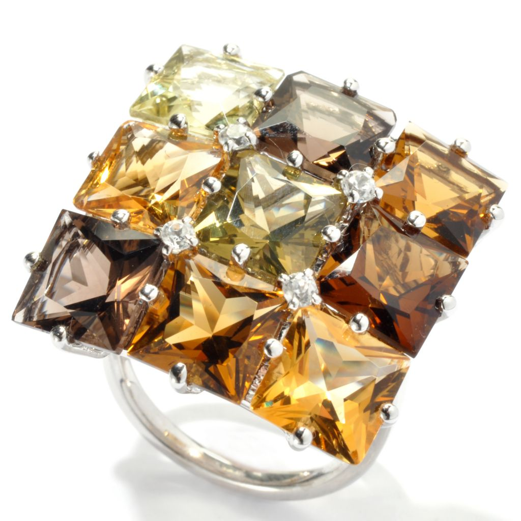 "131-167 - NYC II 11.94ctw Multi Gemstone ""Radiant Neutrals"" Square Top Ring"