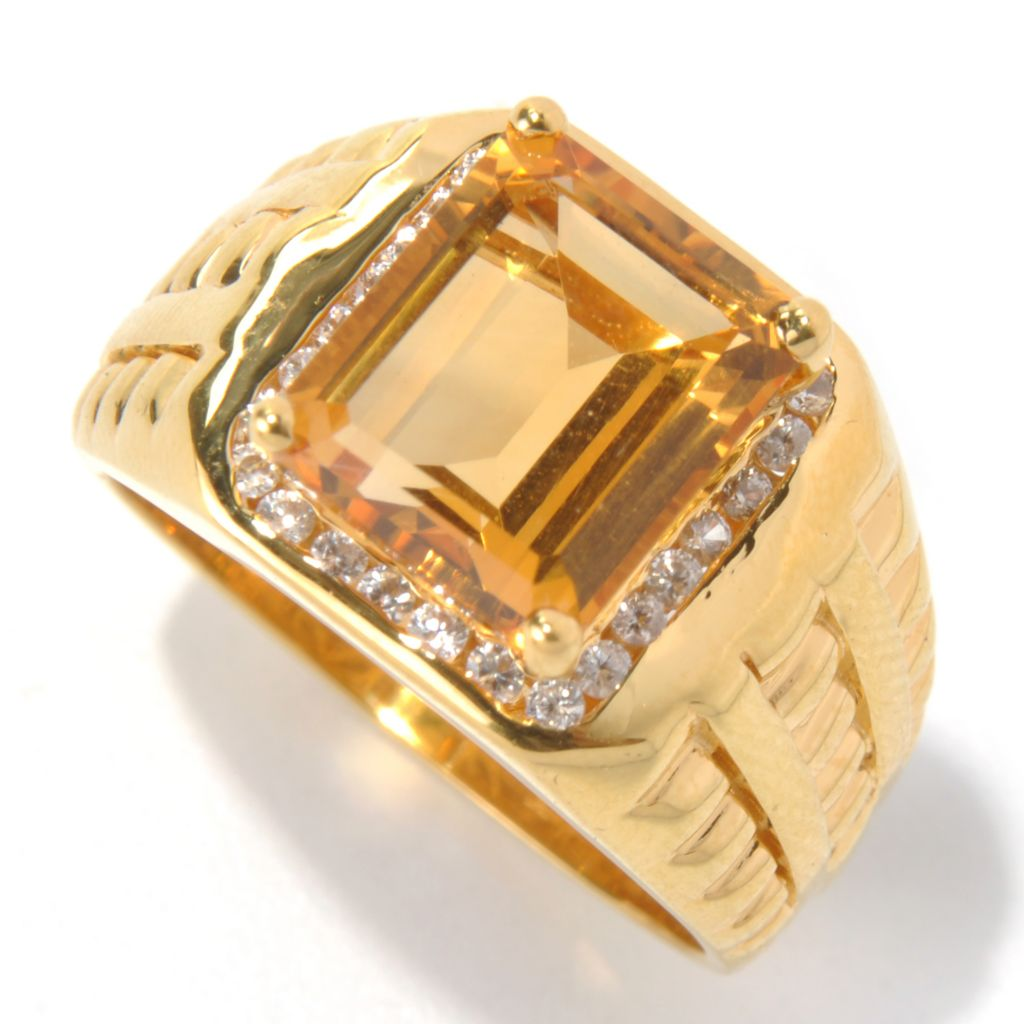 131-170 - NYC II Men's 4.52ctw Emerald Cut Citrine & White Zircon Ring