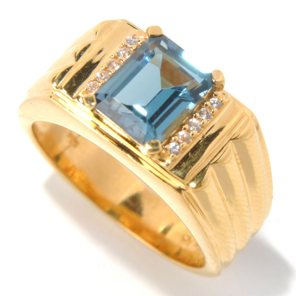 131-172 - NYC II Men's 2.45ctw Emerald Cut London Blue & White Topaz Ring