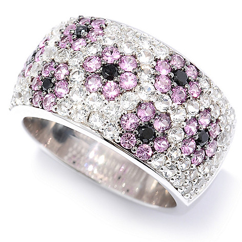 131-176 - Gem Treasures Sterling Silver 2.56ctw White Topaz, Spinel & Pink Sapphire Ring
