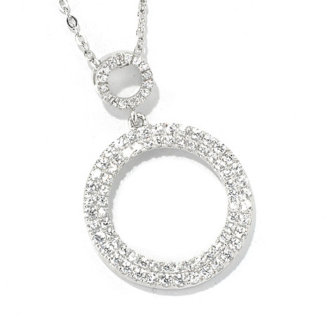131-178 - Gem Treasures Sterling Silver 1.25'' White Zircon Double Circle Pendant w/ Chain
