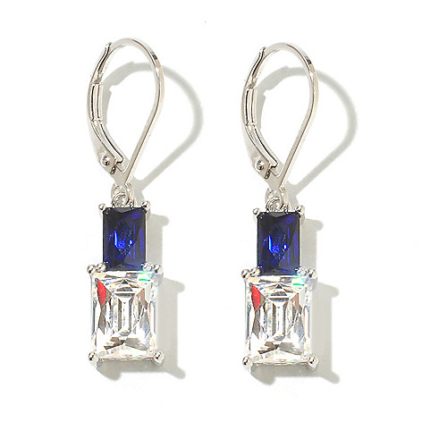 131-185 - TYCOON Platinum Embraced™ 4.67 DEW Rectangle Simulated Sapphire Drop Earrings