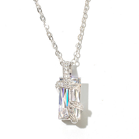 131-188 - TYCOON 4.77 DEW Platinum Embraced™ Simulated Diamond Rectangle Overlay Pendant w/ Chain
