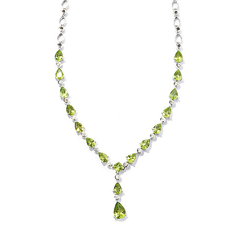 131-191 - Gem Insider Sterling Silver 16'' 9.15ctw Peridot & Zircon Drop Necklace