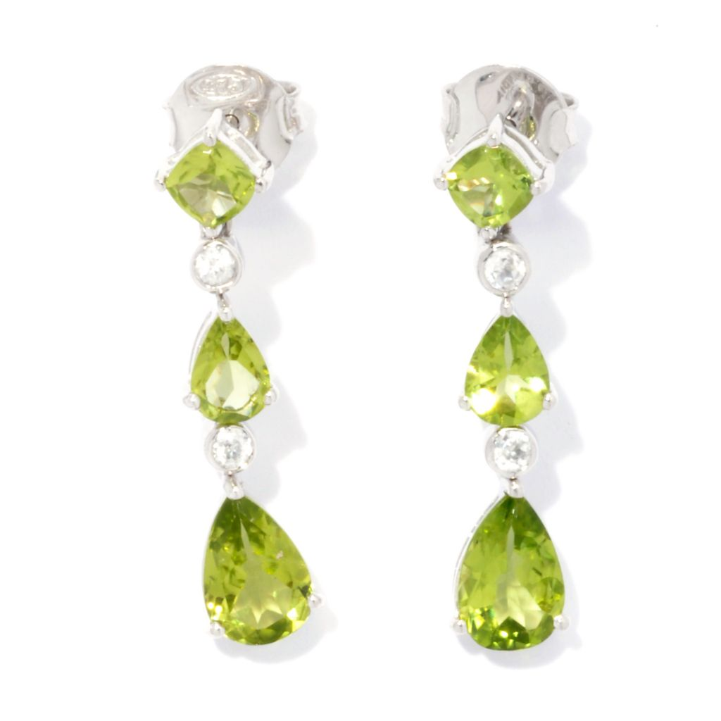"131-193 - Gem Insider 1.25"" Sterling Silver 3.70ctw Peridot & White Zircon Drop Earrings"