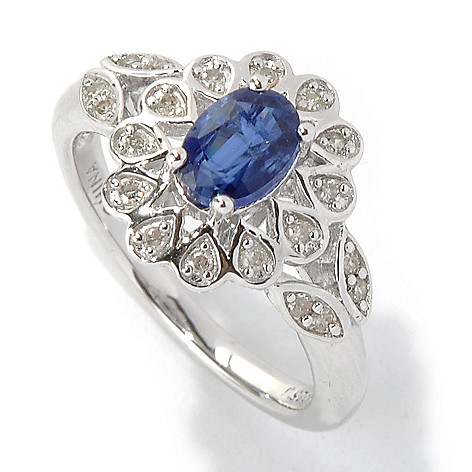 131-194 - Gem Insider™ Sterling Silver 1.08ctw Oval Kyanite & Diamond Flower Ring