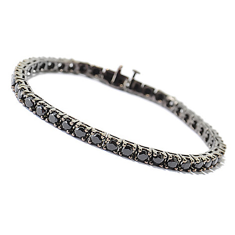 131-195 - Gem Treasures® Sterling Silver Round Cut Spinel Black Rhodium Tennis Bracelet