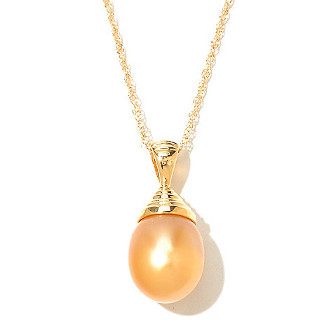 131-198 - 10-11mm Semi-Baroque Golden South Sea Cultured Pearl Pendant w/ 18'' Chain