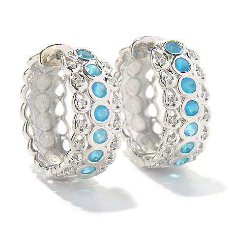 131-203 - Gem Treasures Sterling Silver 0.75'' White Zircon & Gemstone Huggie Hoop Earrings