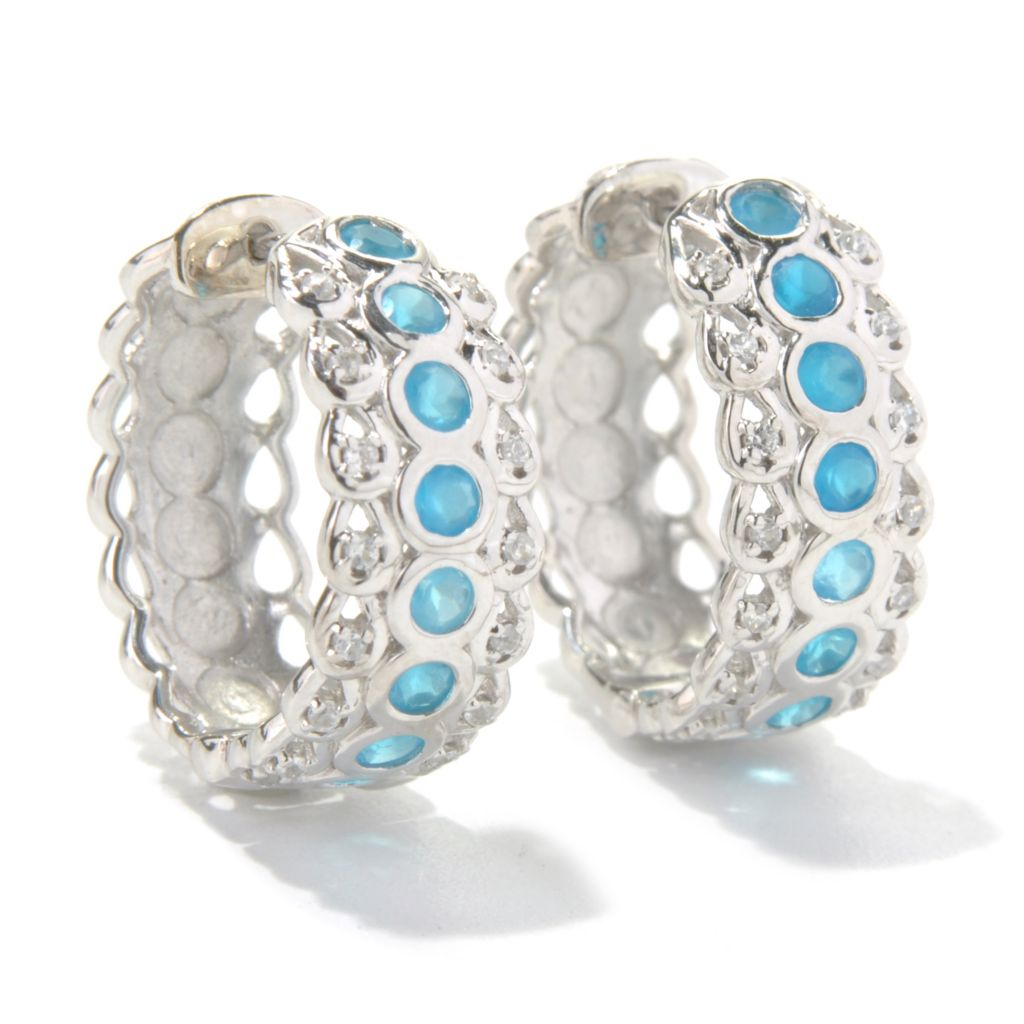 "131-203 - Gem Treasures Sterling Silver 0.75"" White Zircon & Gemstone Huggie Hoop Earrings"