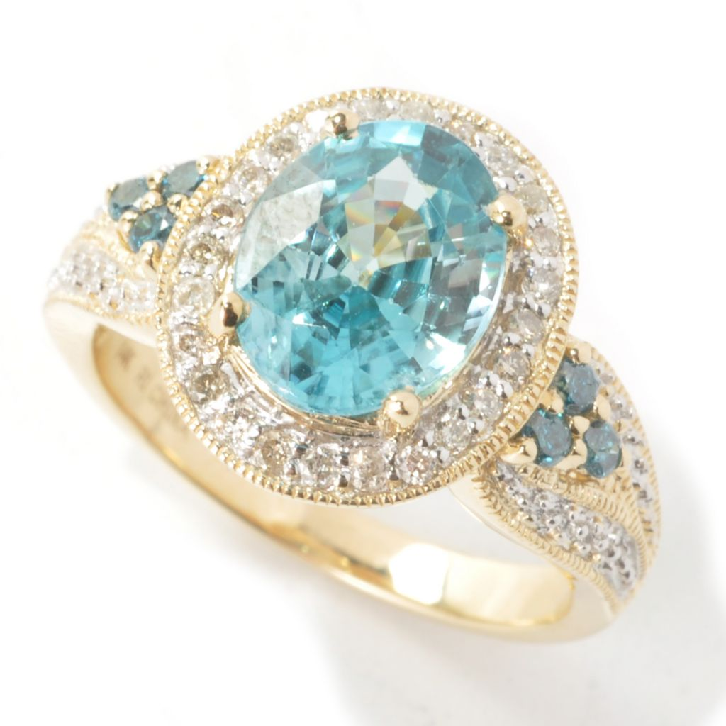 131-204 - Gem Treasures 14K Gold 5.21ctw Blue Zircon & Diamond Halo Ring