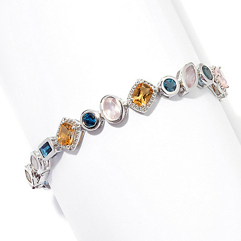 131-219 - Gem Insider Sterling Silver Topaz, Citrine & Rose Quartz Multi Shape Bracelet