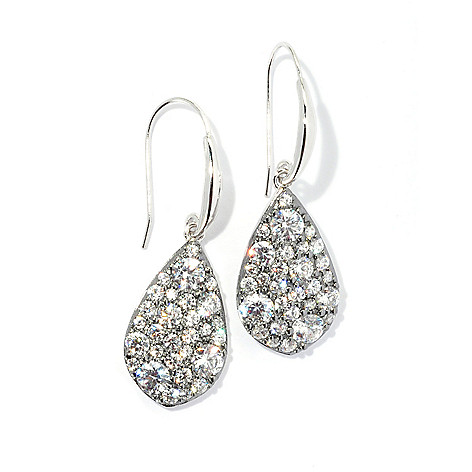 131-225 - Brilliante® Two-tone 1.5'' 3.21 DEW Round Pave Simulated Diamond Teardrop Dangle Earrings