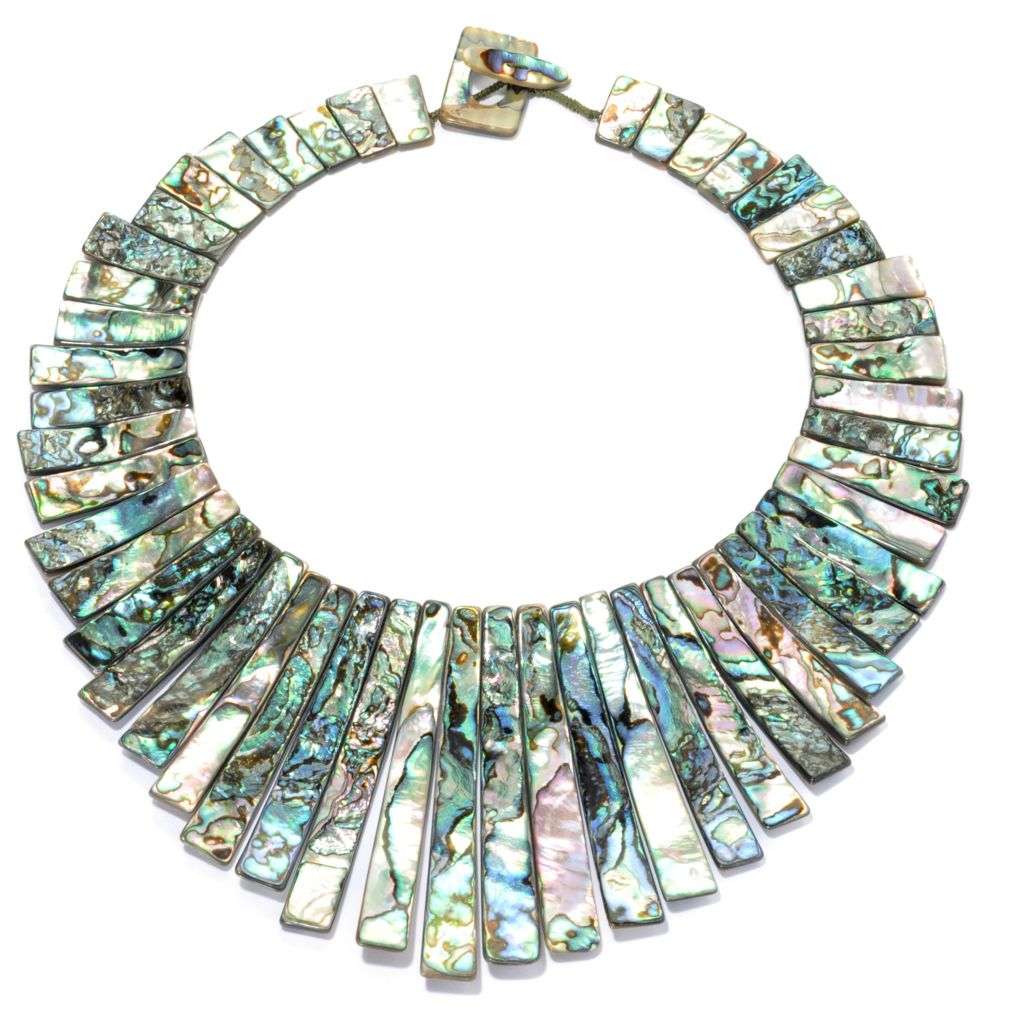 "131-230 - Gem Insider 19"" Graduated Abalone Shell Toggle Necklace"