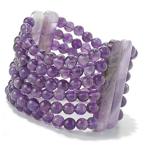 131-235 - Gem Insider Beaded Gemstone Six-Strand Stretch Bracelet
