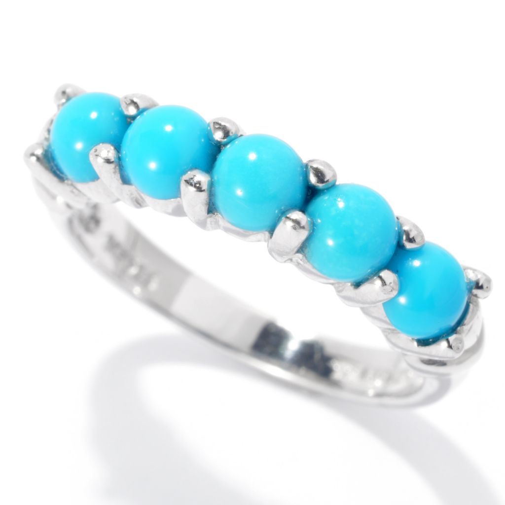 131-238 - Gem Insider Sterling Silver Round Sleeping Beauty Turquoise Five-Stone Ring