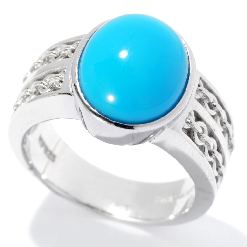 131-239 - Gem Insider Sterling Silver 12 x 10mm Oval Sleeping Beauty Turquoise Ring