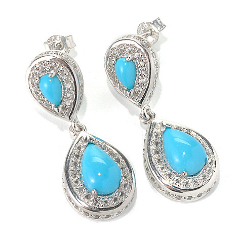 131-240 - Gem Insider Sterling Silver 1.25'' Sleeping Beauty Turquoise Drop Earrings