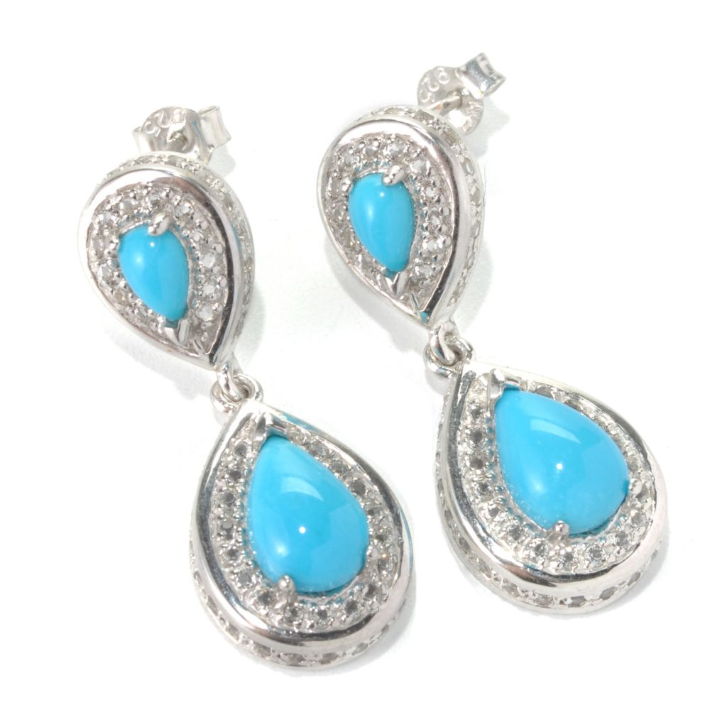 "131-240 - Gem Insider Sterling Silver 1.25"" Sleeping Beauty Turquoise Drop Earrings"
