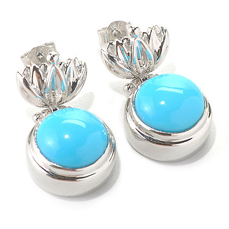 131-241 - Gem Insider Sterling Silver 10mm Sleeping Beauty Turquoise Floral Earrings