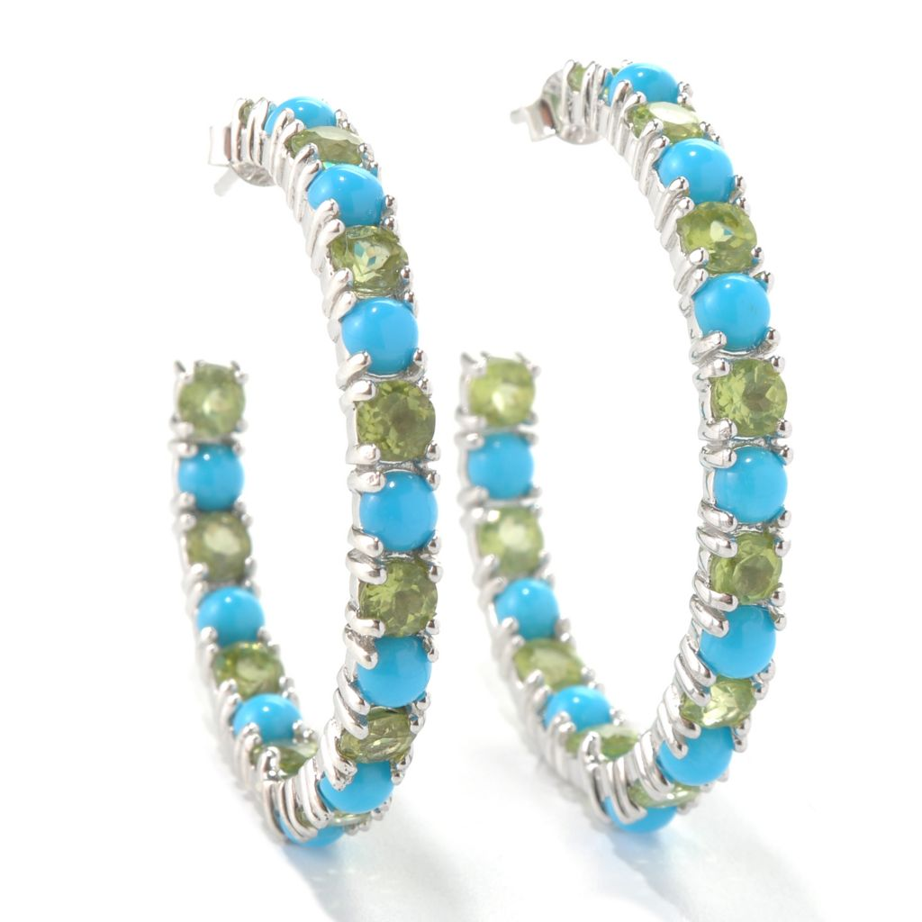 131-242 - Gem Insider Sterling Silver Sleeping Beauty Turquoise & Gemstone Earrings