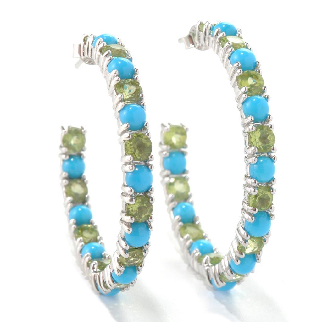 131-242 - Gem Insider Sterling Silver Sleeping Beauty Turquoise & Gemstone Earrings