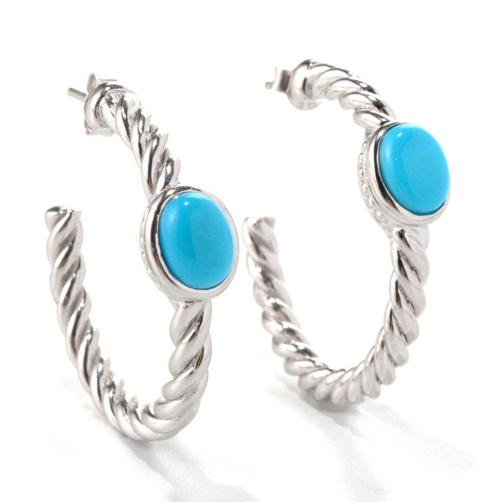 "131-243 - Gem Insider 1.25"" Sterling Silver 8 x 6mm Sleeping Beauty Turquoise Hoop Earrings"
