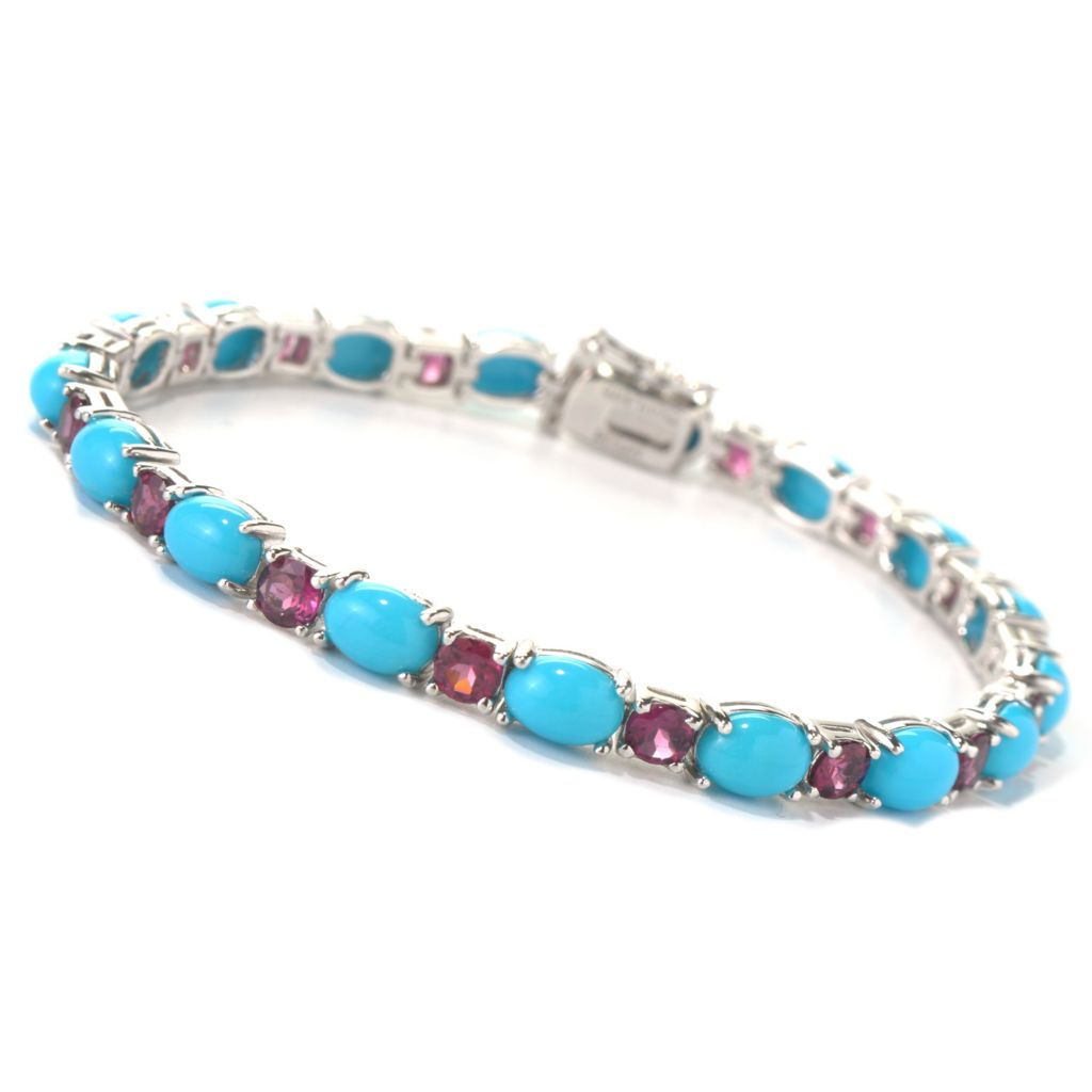 131-244 - Gem Insider Sterling Silver Sleeping Beauty Turquoise & Garnet Bracelet