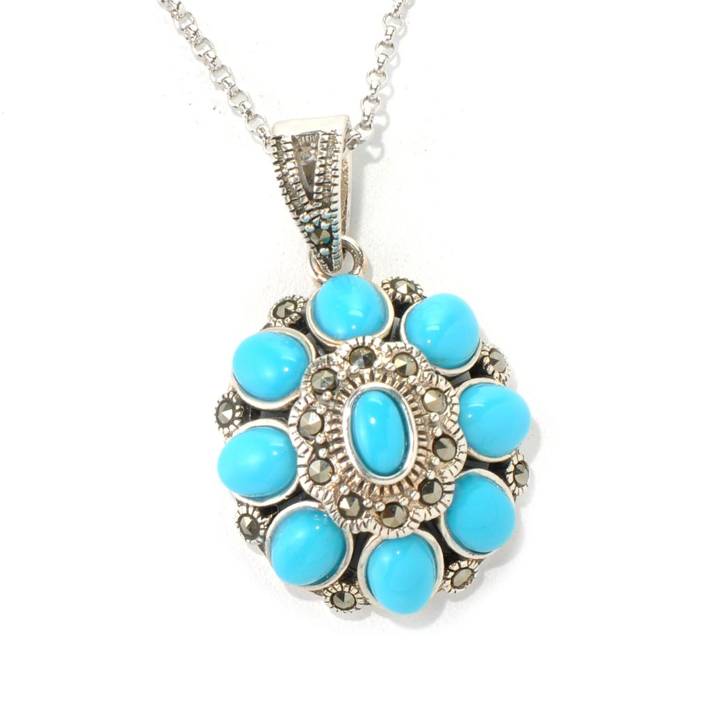 131-246 - Gem Insider Sterling Silver Oval Sleeping Beauty Turquoise & Marcasite Pendant