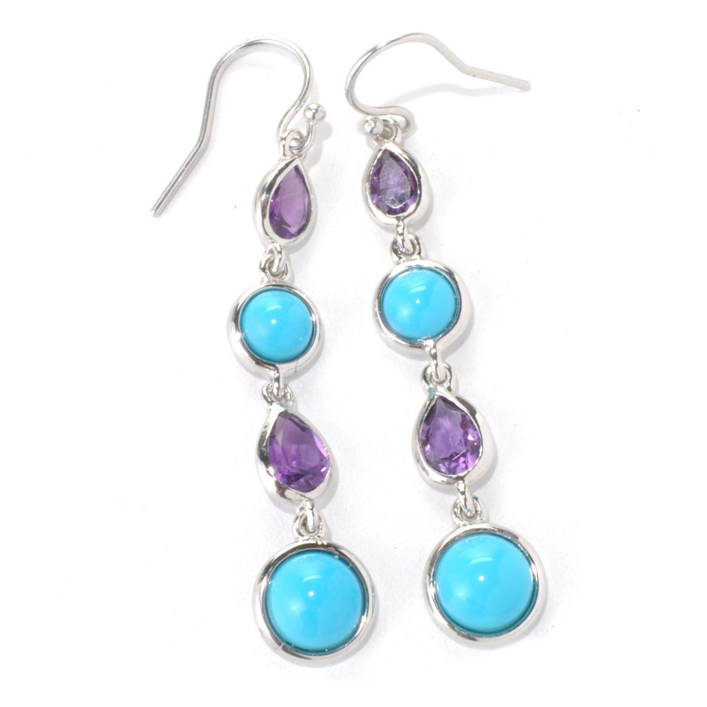 "131-248 - Gem Insider Sterling Silver 2"" African Amethyst & Sleeping Beauty Turquoise Earrings"