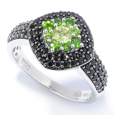 131-249 - Gem Treasures Sterling Silver 1.09ctw Peridot, Chrome Diopside & Spinel Ring