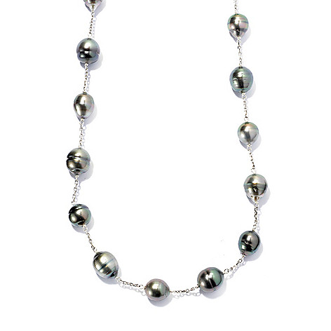 131-254 - Sterling Silver 24'' 9-12mm Peacock Tahitian Cultured Pearl Convertible Station Necklace