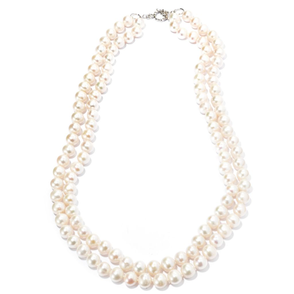 "131-257 - Sterling Silver 27"" 10.5-11mm White Freshwater Cultured Pearl Two-Row Necklace"