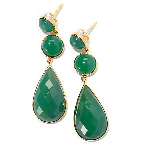 131-258 - 2'' Pear & Round Shaped Green Agate Drop Earrings