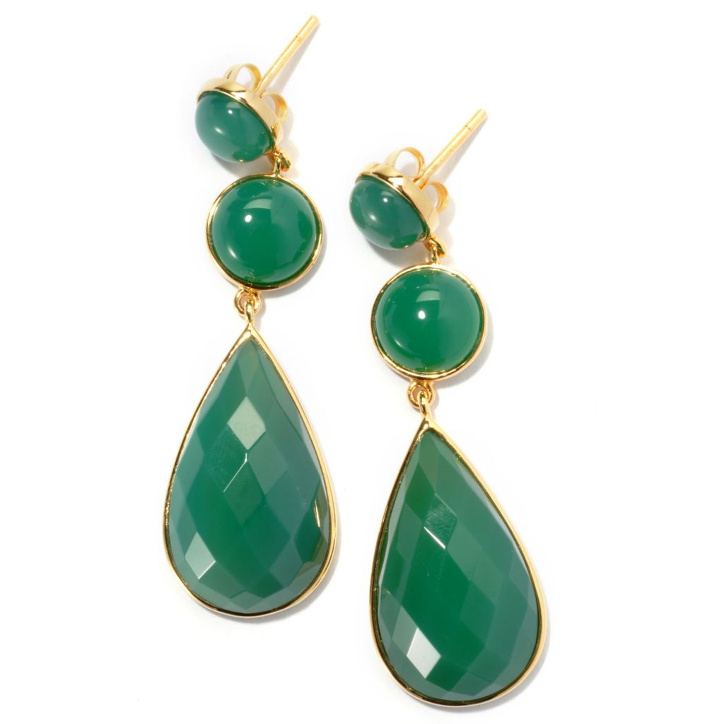 "131-258 - 2"" Pear & Round Shaped Green Agate Drop Earrings"