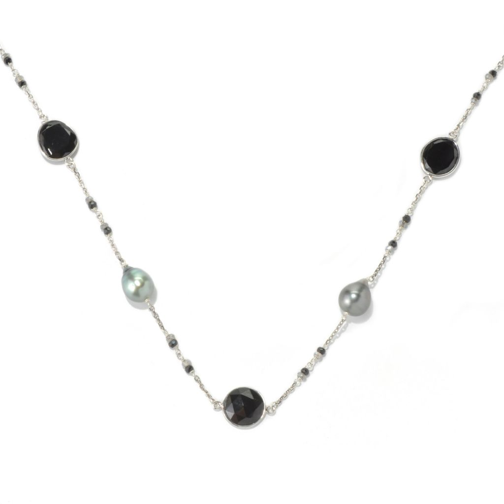 "131-262 - Sterling Silver 24"" 10-11mm Tahitian Cultured Pearl & Multi Gem Station Necklace"