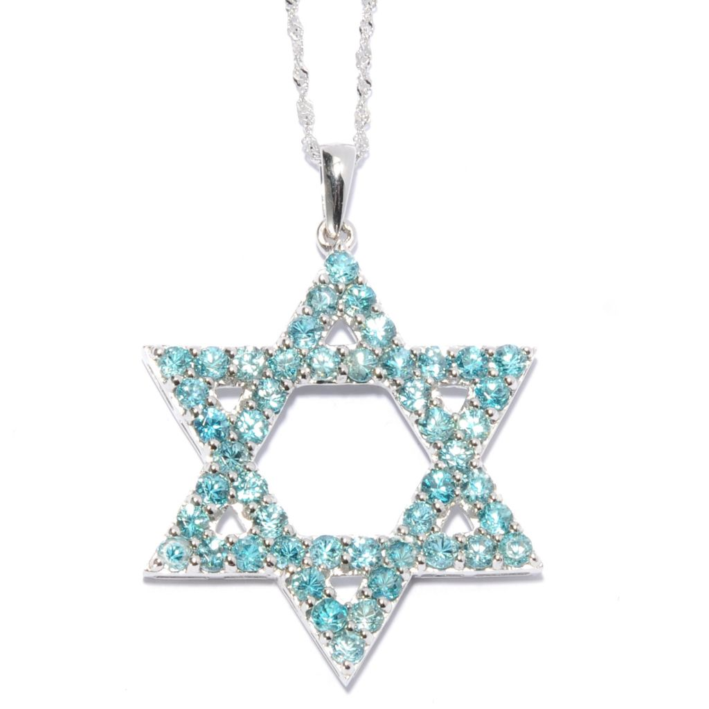 131-269 - Gem Treasures Sterling Silver Round Cut Gemstone Star of David Pendant w/ Chain