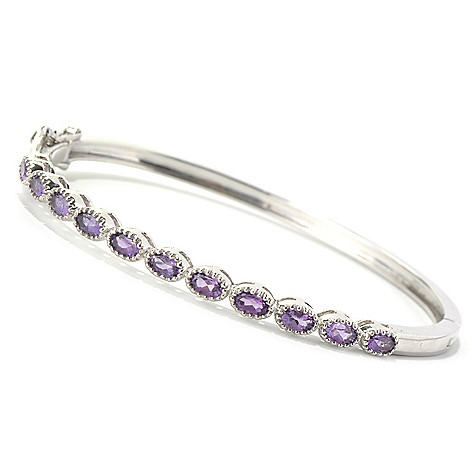 131-274 - Gem Treasures Sterling Silver 7.25'' Oval Gemstone Bangle Bracelet