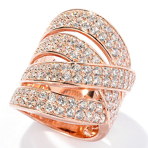 131-277 - Sonia Bitton 2.86 DEW Simualted Diamond Woven Design Four-Row Ring
