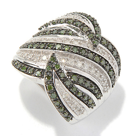 131-312 - Sterling Silver 0.75ctw White & Fancy Color Diamond Multi Wave Ring