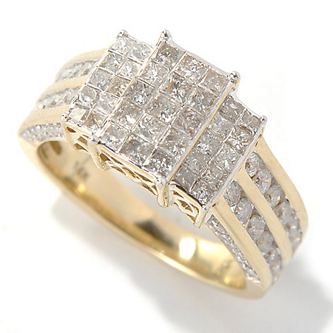 131-319 - Diamond Treasures 14K Gold 1.50ctw Invisible, Channel & Pave Set Diamond Ring