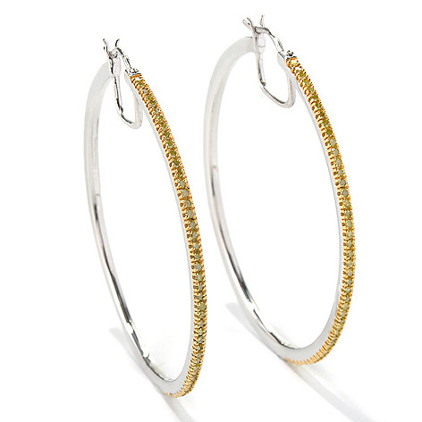 131-322 - Diamond Treasures Sterling Silver 2'' 0.75ctw Fancy Color Diamond Hoop Earrings